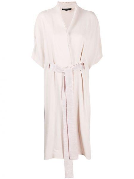 Розовое пальто с капюшоном с запахом Antonelli