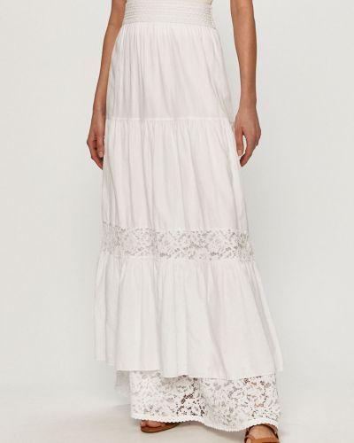 Biała spódnica maxi koronkowa z wiskozy Guess