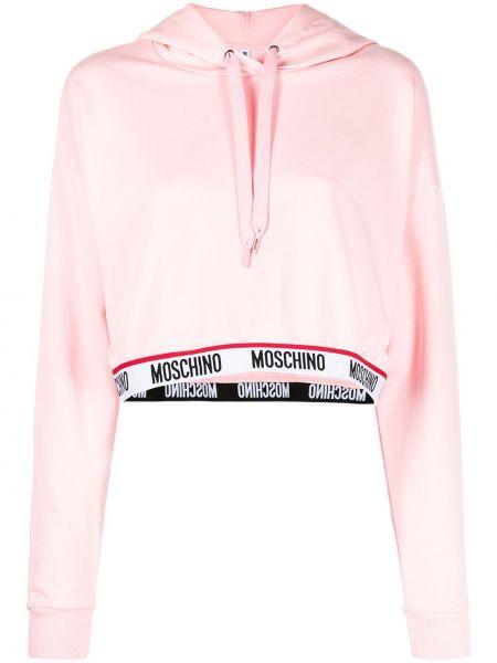 Розовое худи с капюшоном с длинными рукавами Moschino