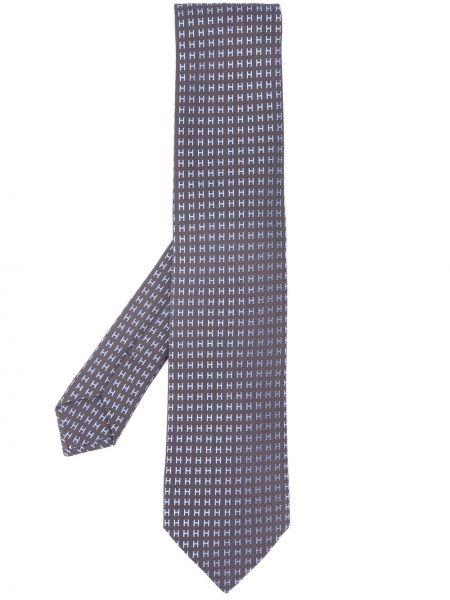 Шелковый серый галстук Hermès