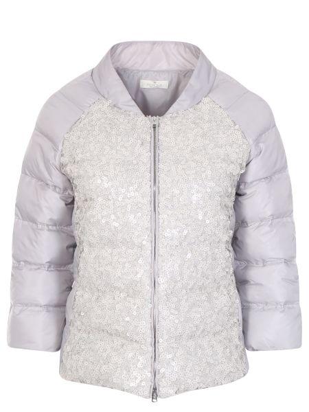 Серая стеганая куртка с пайетками на молнии с вырезом Panicale