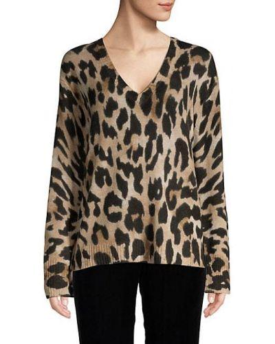 Z kaszmiru długi sweter z długimi rękawami z dekoltem w serek 360 Cashmere