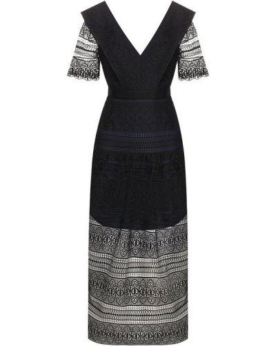 Платье с поясом с открытой спиной приталенное Self-portrait