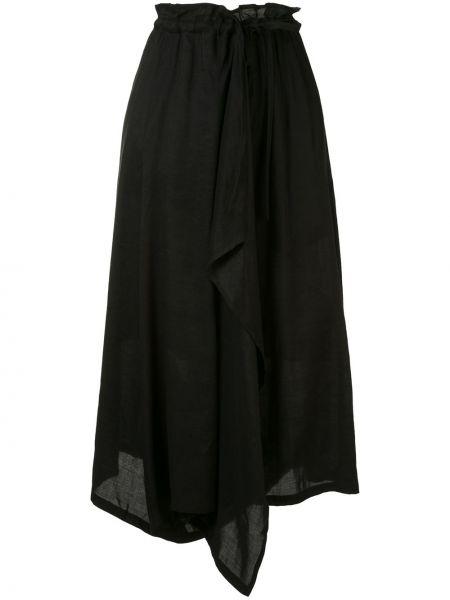 Черная с завышенной талией юбка с карманами с завязками Y`s