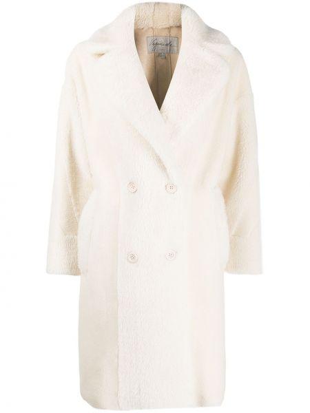 Белое длинное пальто с воротником на пуговицах двубортное Urbancode