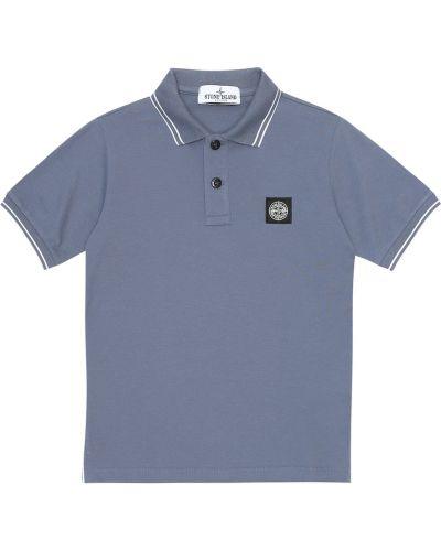 Niebieski bawełna bawełna koszulka polo Stone Island Kids