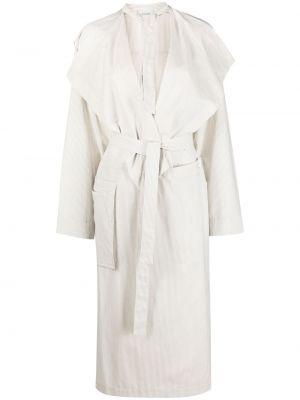 Biały długi płaszcz bawełniany z długimi rękawami Lemaire