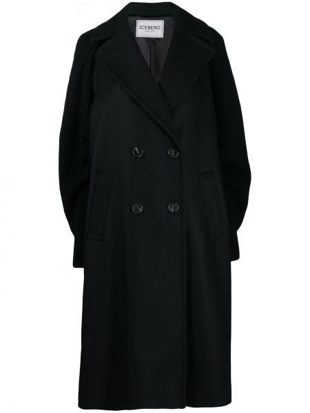 Шерстяное вязаное черное длинное пальто с рукавом реглан Iceberg