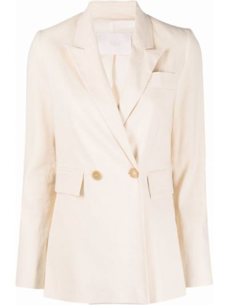 Бежевый удлиненный пиджак двубортный с карманами Tela