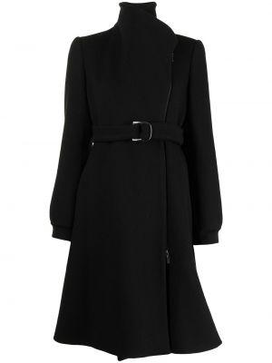 Шерстяное черное длинное пальто с воротником Giorgio Armani Pre-owned