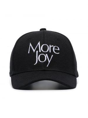 Czarna czapka z haftem bawełniana More Joy