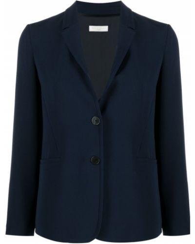 Однобортный синий удлиненный пиджак с карманами Antonelli