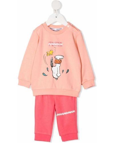 Хлопковый прямой розовый спортивный костюм Puma Kids