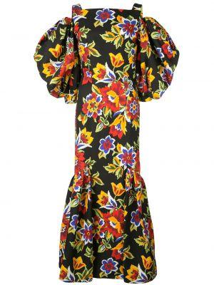 Черное шелковое тонкое платье на бретелях Carolina Herrera