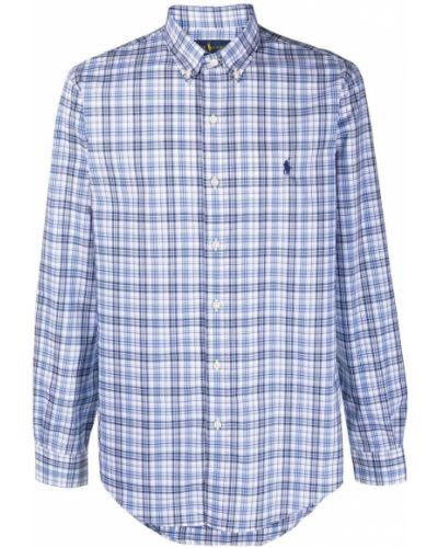 Niebieska koszula bawełniana z długimi rękawami Ralph Lauren Collection