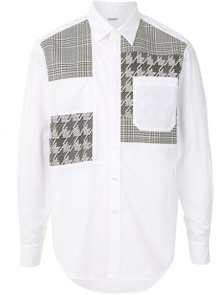 Белая прямая рубашка с воротником с карманами Coohem