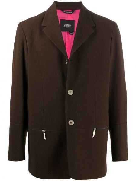Шерстяной коричневый однобортный пиджак на молнии Versace Pre-owned