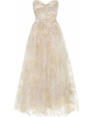 Вечернее платье из фатина на бретелях Monique Lhuillier