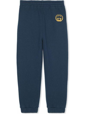 Niebieskie spodnie bawełniane Gucci Kids