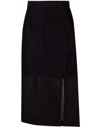 Lniana czarna długa spódnica 12 Storeez