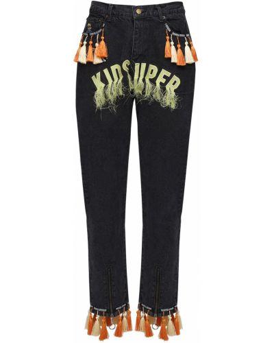 Czarne spodnie bawełniane z frędzlami Kidsuper Studios