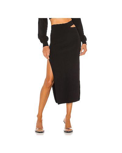Черная нейлоновая юбка миди с разрезом в рубчик Michael Costello