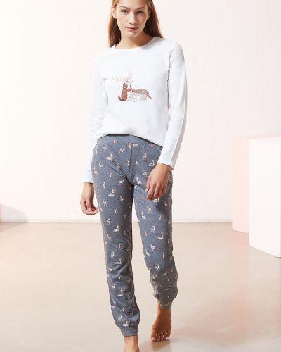 Szara spodni piżama bawełniana z długimi rękawami Etam