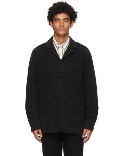 Темно-серая фланелевая длинная куртка с манжетами с воротником Schnaydermans
