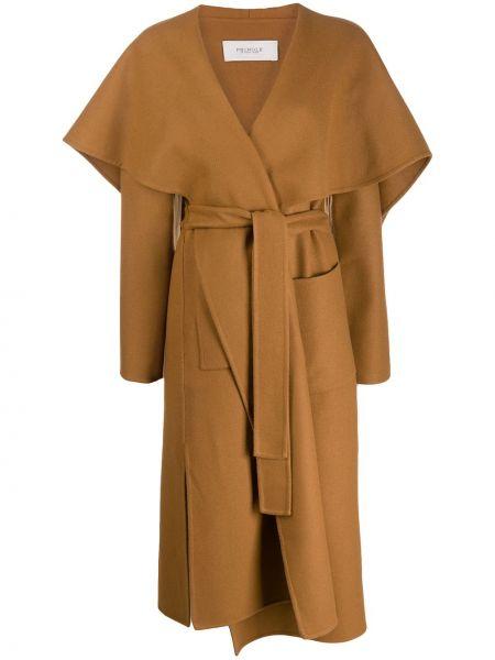 Шерстяное длинное пальто с воротником с поясом Pringle Of Scotland