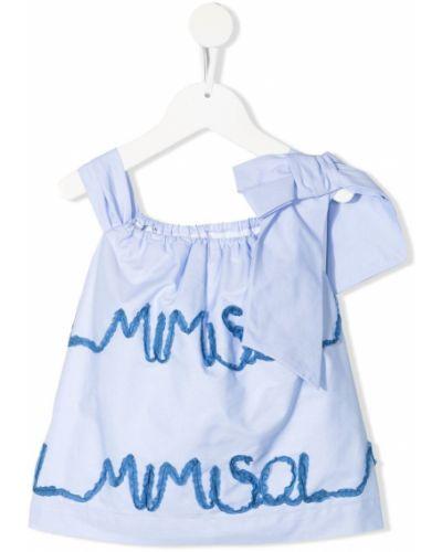 Расклешенная синяя блузка с вышивкой Mi Mi Sol