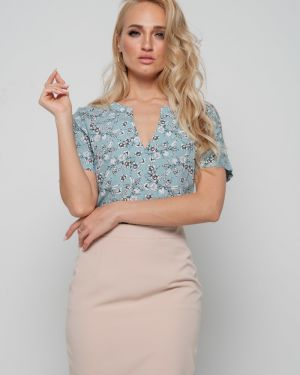 Блузка с коротким рукавом из вискозы с вырезом Leleya