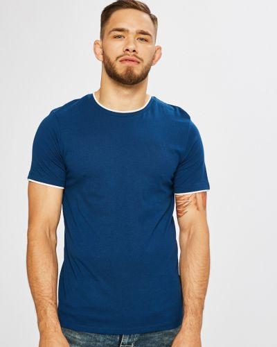 Синяя футболка однотонная Jack & Jones