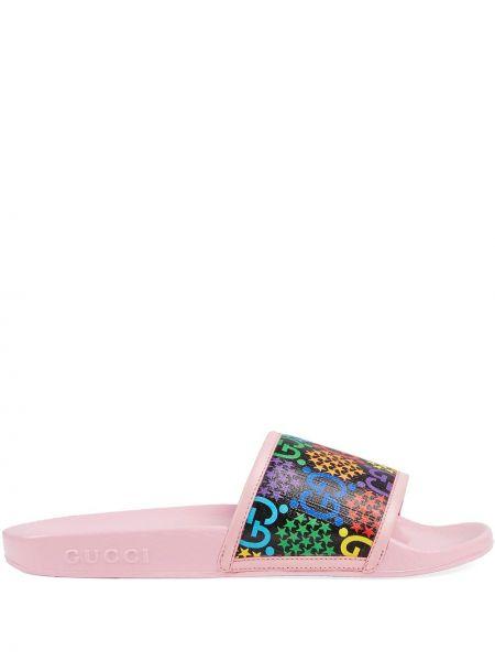 Różowe klapki skorzane peep toe Gucci