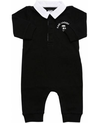 Bawełna bawełna z rękawami czarny pajacyk Karl Lagerfeld
