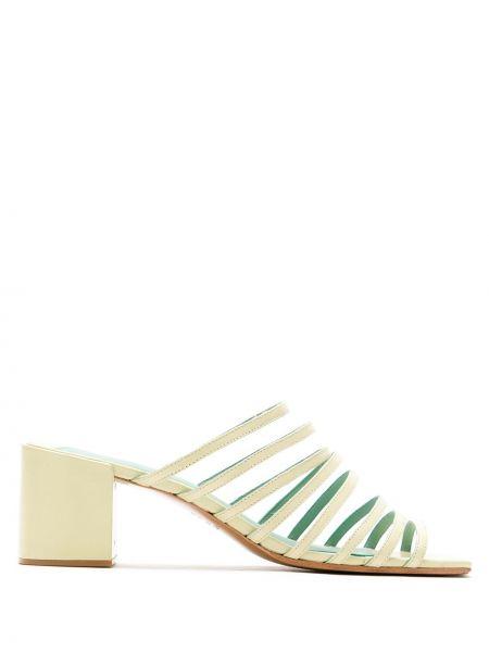 Желтые туфли на каблуке с квадратным носком Blue Bird Shoes