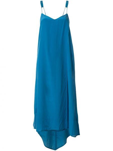 Шелковое платье - синее Taylor