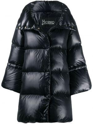 С рукавами черное пальто классическое с капюшоном Herno