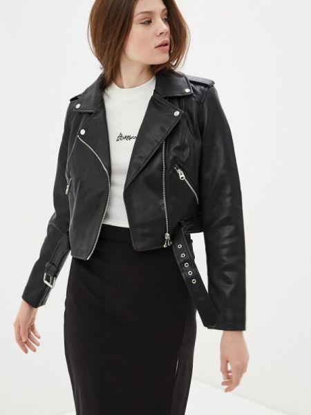 Кожаная куртка черная весенняя Befree