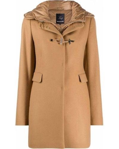 С рукавами однобортное шерстяное пальто классическое узкого кроя Fay