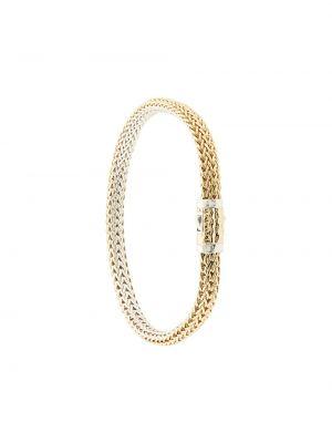 Золотистый желтый золотой браслет двусторонний John Hardy