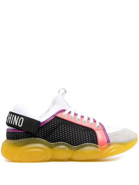 Biały koronkowa skórzany sneakersy na sznurowadłach Moschino