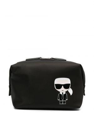 Черная кожаная косметичка прямоугольная Karl Lagerfeld