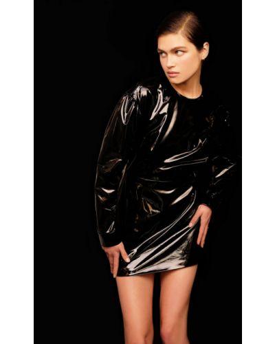 Кожаное черное платье мини с манжетами 12storeez