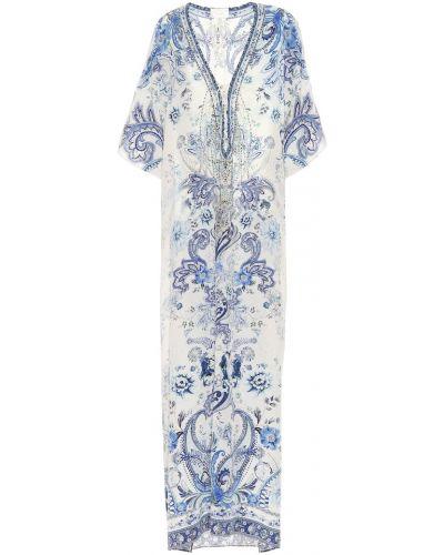 Шелковый синий кафтан Camilla