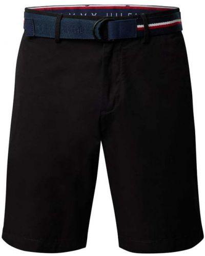 Czarne bermudy bawełniane z paskiem Tommy Hilfiger