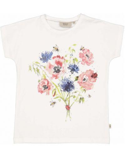 Biała koszulka w kwiaty Wheat