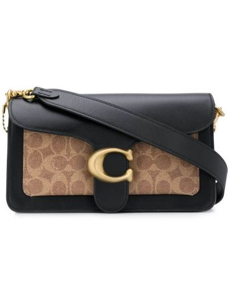 Черная кожаная сумка на плечо с карманами Coach