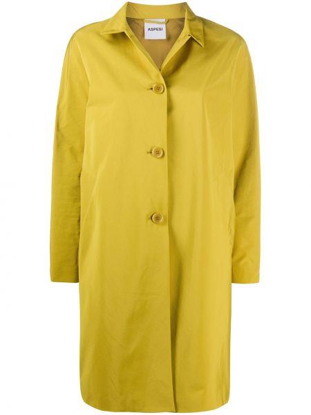 Прямая желтая длинное пальто с воротником Aspesi