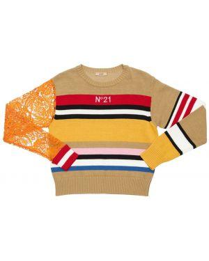 Sweter ażurowy na szyi N°21