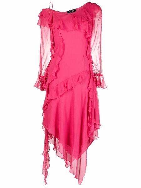 Платье макси с длинными рукавами - розовое Blumarine